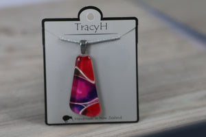 TracyH Pendant Clear Triangle Pebble Pink