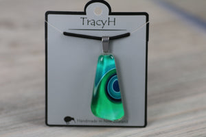 TracyH Pendant Clear Triangle Ribbon Turq