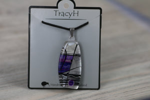 TracyH Pendant Trapeze Silver Abstract Purple