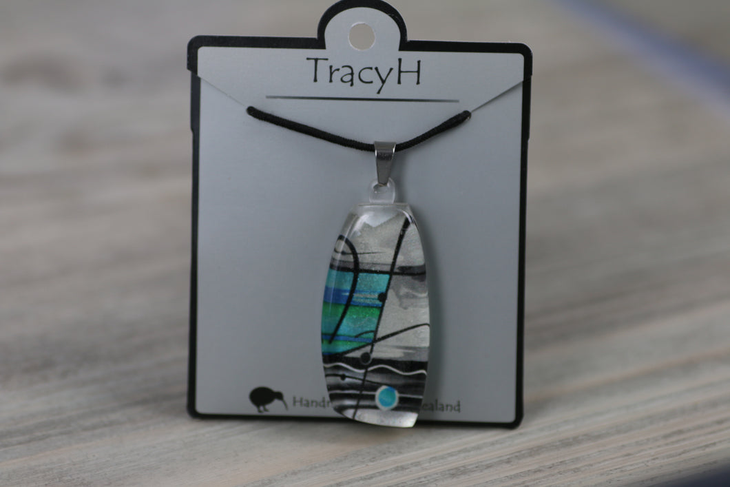 TracyH Pendant Trapeze Silver Abstract Turq