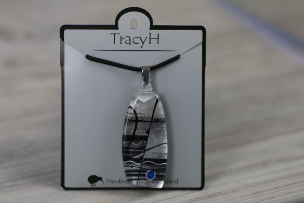 TracyH Pendant Trapeze Silver Abstract Black White