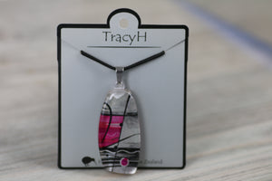 TracyH Pendant Trapeze Silver Abstract Pink