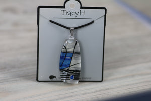 TracyH Pendant Trapeze Silver Abstract Blue
