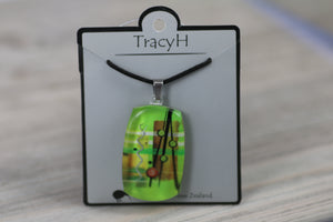 TracyH Pendant Rectangle Abstract Green