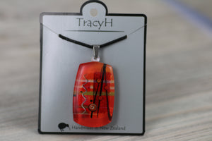 TracyH Pendant Rectangle Abstract  Red
