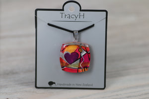 TracyH Pendant Square Cubism Heart Pink
