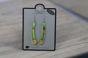 TracyH Earring Long Curve Foil Stripes Green