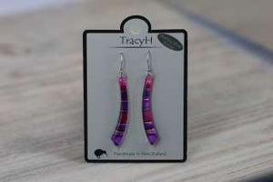 TracyH Earring Long Curve Foil Stripes Purple