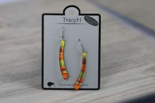 TracyH Earring Long Curve Foil Stripes Orange