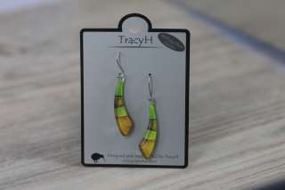 TracyH Earring Curve Foil Stripes Green
