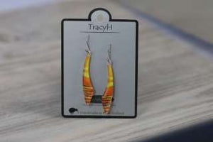 TracyH Earring Long Curve Stripes Orange