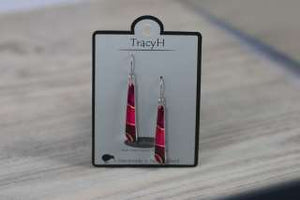 TracyH Earring Circle Drop Ribbon Pink