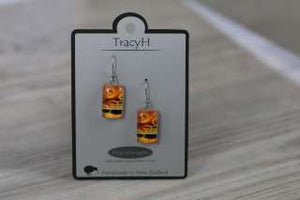 TracyH Earring  Rectangle  Circles Orange