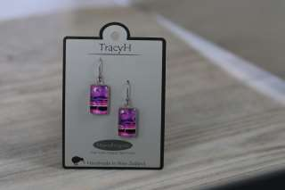 TracyH Earring  Rectangle  Circles Purple