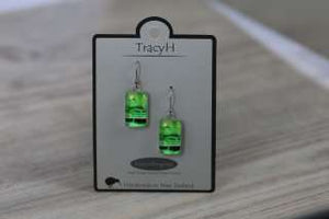TracyH Earring  Rectangle  Circles Green