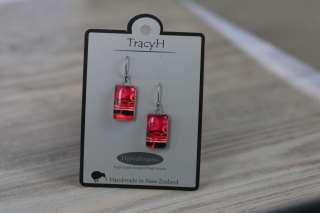 TracyH Earring  Rectangle  Circles Pink