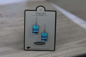 TracyH Earring  Rectangle  Circles Blue