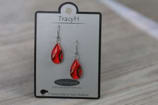 TracyH Earring  Teardrop Ribbon  Red