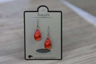 TracyH Earring Clear Teardrop Circles Red