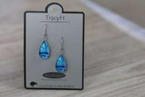 TracyH Earring Clear Teardrop Circles Blue