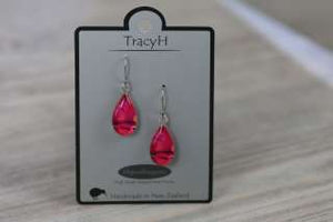 TracyH Earring Clear Teardrop Circles Pink