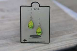TracyH Earring Clear Teardrop Circles Green