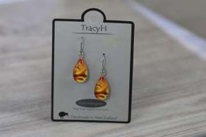 TracyH Earring Clear Teardrop Circles Orange