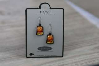 TracyH Earring Trapeze Circles Orange