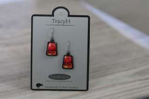 TracyH Earring Trapeze Circles Red