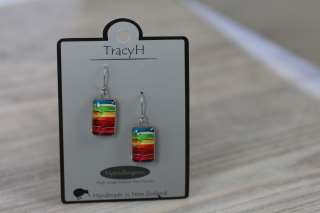 TracyH Earring Clear Rect Rainbow Green