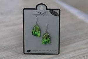 TracyH Earring Trapeze Abstract Green