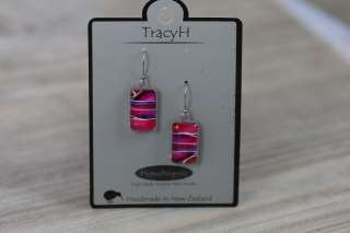 TracyH Earring Clear Rect Stripes Pink