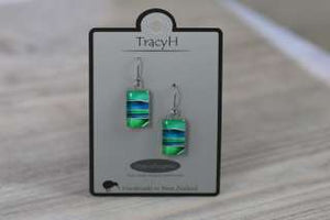 TracyH Earring Clear Rect Stripes Turq