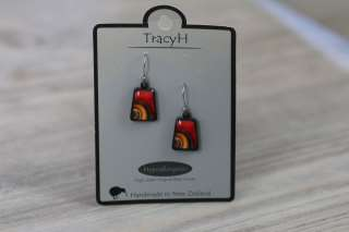 TracyH Earring Trapeze Ribbon Red