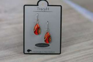 TracyH Earring Clear Teardrop Ribbon Orange