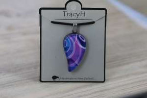 TracyH Pendant Large Leaf Loops Purple
