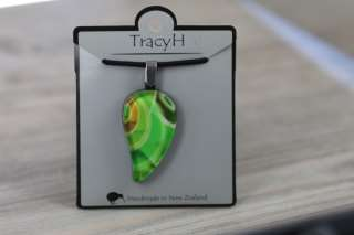 TracyH Pendant Large Leaf Loops Green