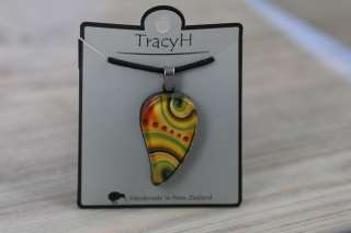 TracyH Pendant Large Leaf Koru Orange