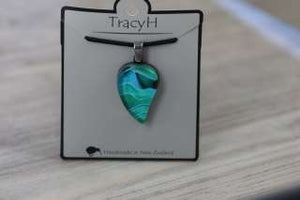 TracyH Pendant Small Leaf Landscapes Turq