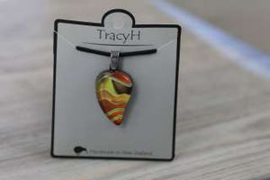 TracyH Pendant Small Leaf Landscapes Orange