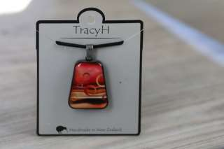 TracyH Pendant Trapeze Large Circles Red