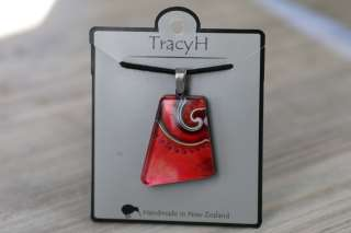 TracyH Pendant Trapeze Asym Dots Red