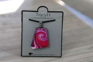 TracyH Pendant Trapeze Asym Dots Pink