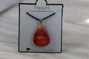 TracyH Pendant Triangle Foil Stripe Red