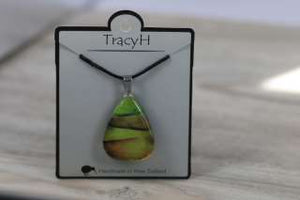 TracyH Pendant Triangle Foil Stripe Green