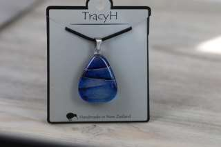 TracyH Pendant Triangle Foil Stripe Blue