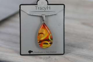 TracyH Pendant Clear Teardrop Circles Orange