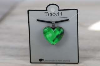 TracyH Pendant Heart Marble Watercolour Green
