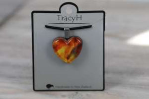 TracyH Pendant Heart Marble Watercolour Orange