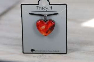 TracyH Pendant Heart Marble Watercolour Red